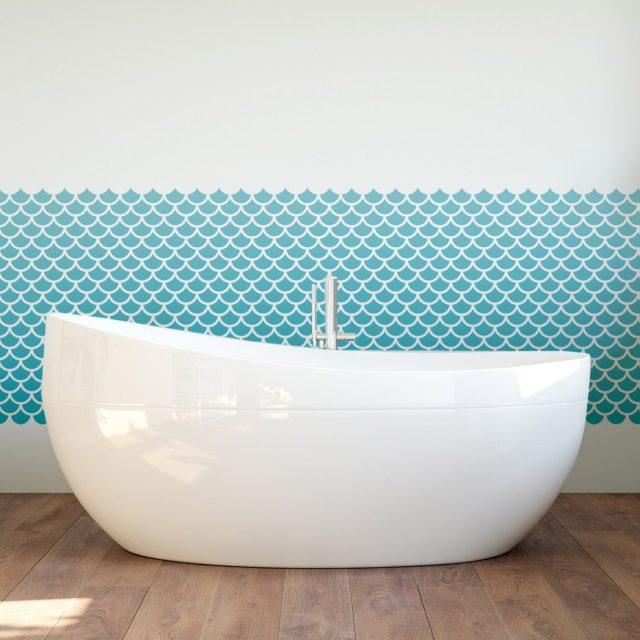 salle de bain bleu motif ecaille de poisson