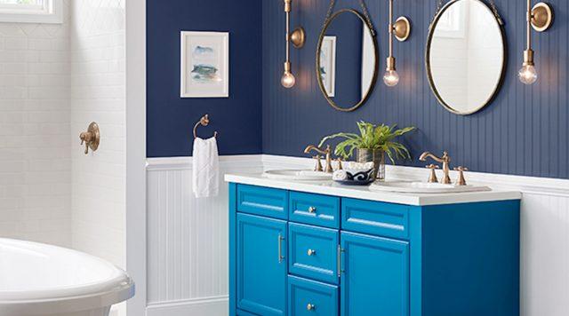 salle de bain bleu peinture idee decoration