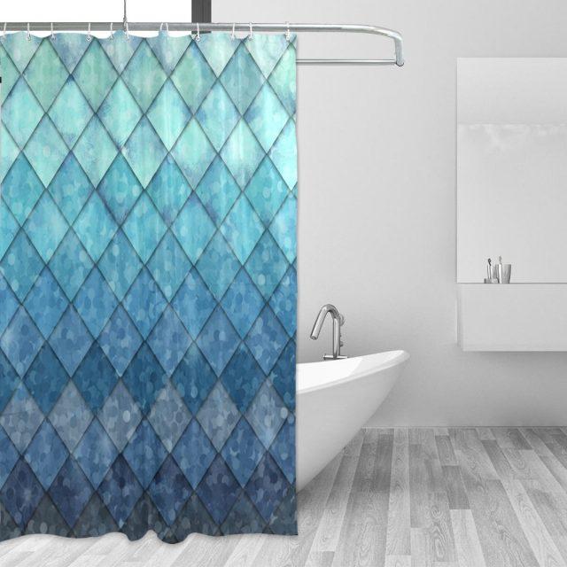 salle de bain bleu rideau de douche
