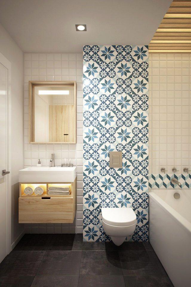 salle de bain bleue carrelage mural idee