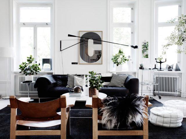 salon noir et blanc classique et deco