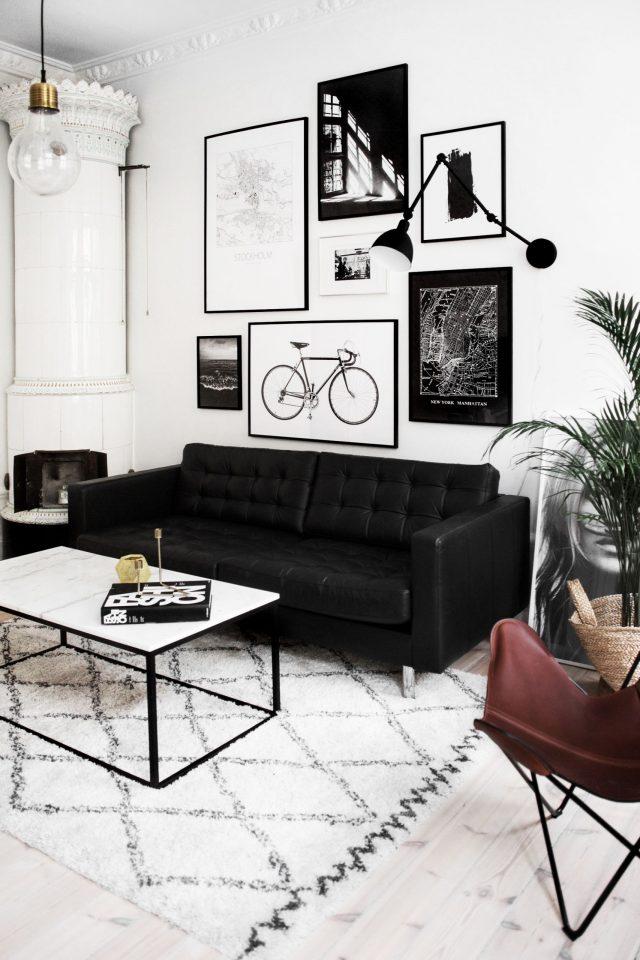 salon noir et blanc contemporain