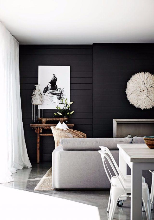 salon noir peinture lambris lumiere