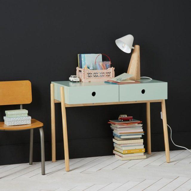bureau enfant decoration vert et bois