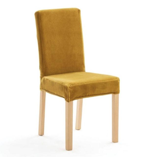 ou trouver chaises velours couleur jaune housse