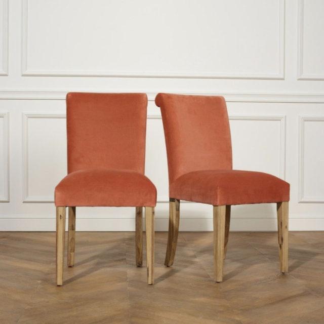 ou trouver chaises velours couleur orange