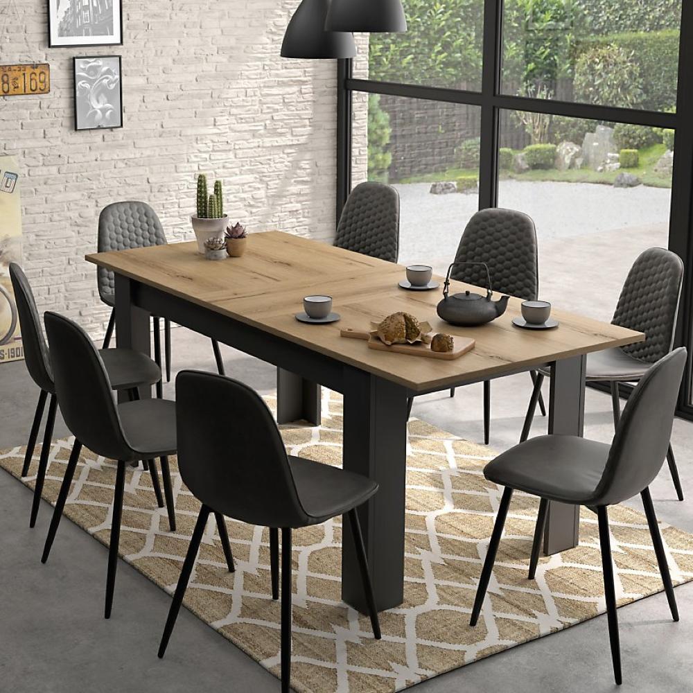 salle a manger made in france table bois et noir