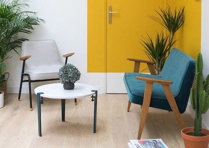 color block idee deco salon jaune