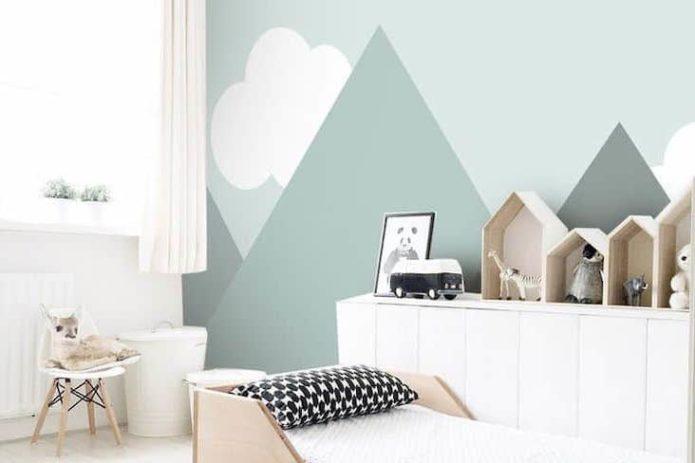 chambre enfant style nature decoration fresque murale montagne moilier bois et blanc ambiance moderne et simple