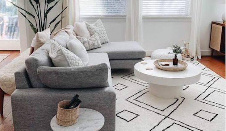 idees a copier decoration couleur grise salon séjour salle à manger chambre tapis canapé