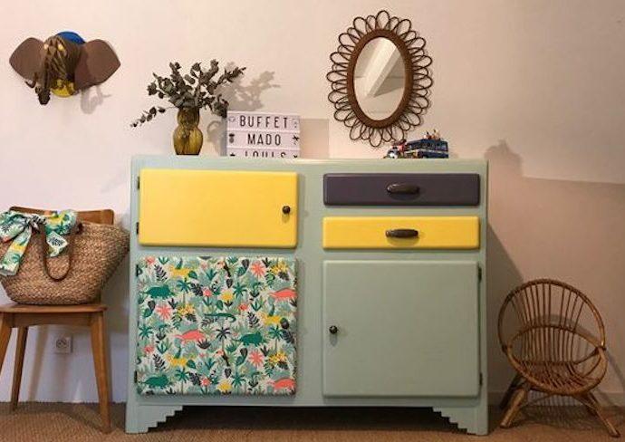 exemple diy relooking mobilier recup meuble vintage peinture papier peint détails décoration faire soi même