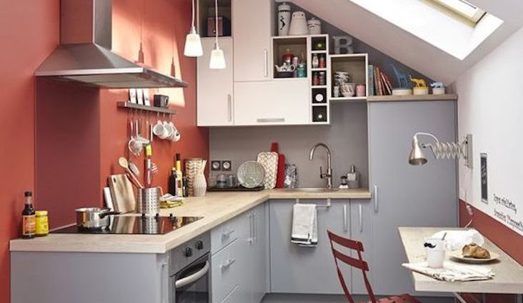 weekly inspiration deco quotidien cuisine coin repas combles couleur terracotta blanc gris