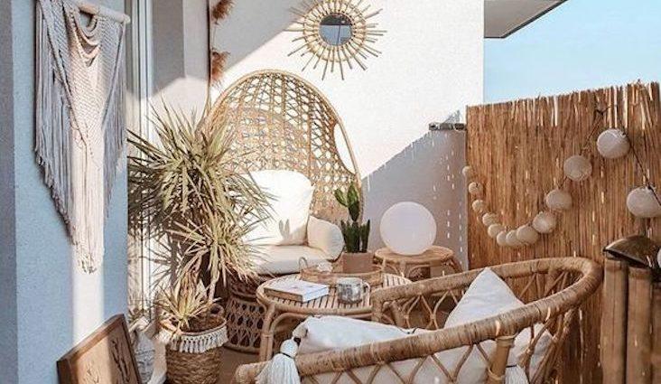 deco boheme petit balcon happy small living mobilier rotin naturel extérieur appartement