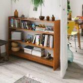 exemple deco petite piece mobilier angle mobilier retro mid century bibliothèque basse