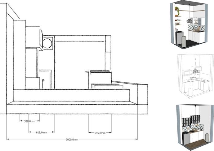 agencement cuisine 3m2 plan vue 3D différentes possibilité gain de place