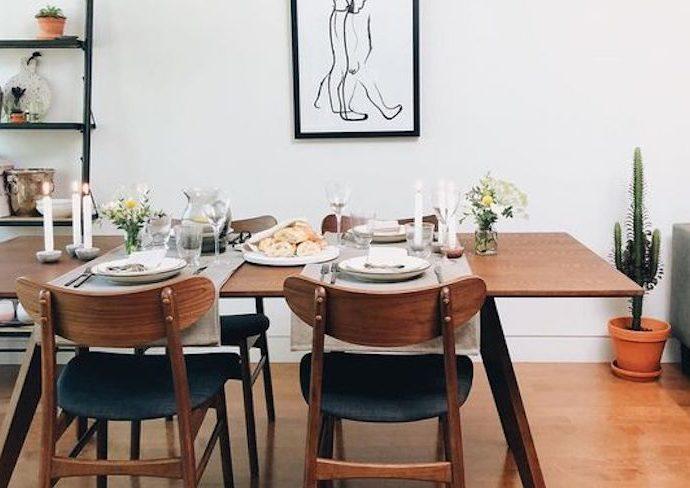 exemple deco salle a manger vintage mid century moderne années 50 bois séjour pièce à vivre idée conseils