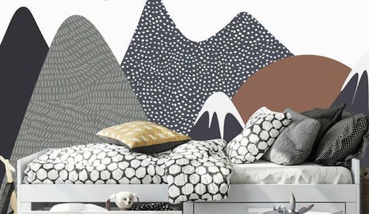 fresque murale chambre enfant idee a copier decor paysage couleur neutre noir gris terracotta blanc moderne