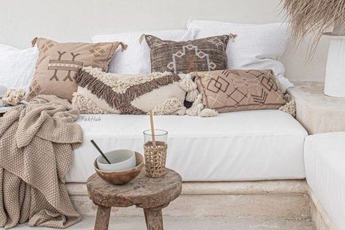 inspiration decoration interieur moderne salon chambre banquette cannage meuble macramé