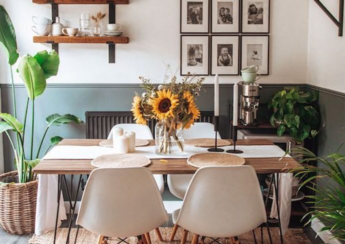 petit logement salle a manger happy small living ambiance moderne style nature vert bois blanc
