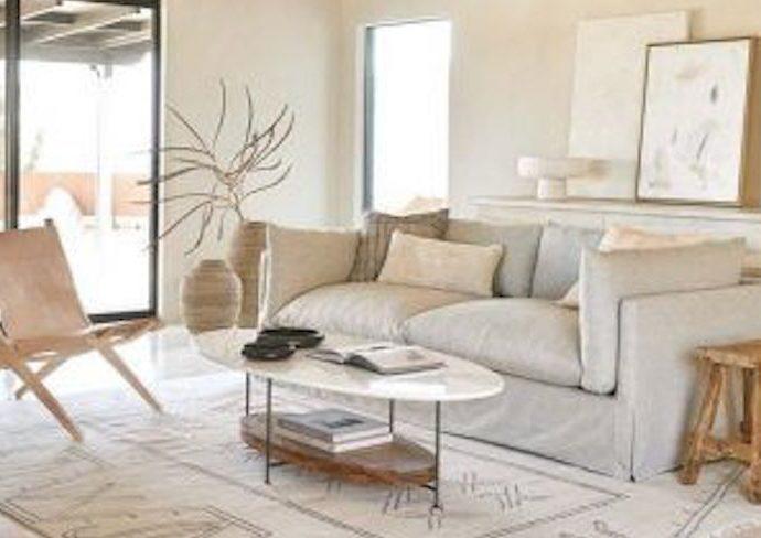 exemple deco slow living salon sejour canape tapis table basse petit fauteuil slowdesign