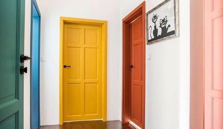 entree couleur peinture idee porte orange jaune bleu vert rose